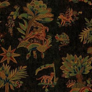 Wallpaper-Yellow-Brown-Green-Red-Orange-Blue-Pink-Trees-Tiger-Deer-on-Black-Tan