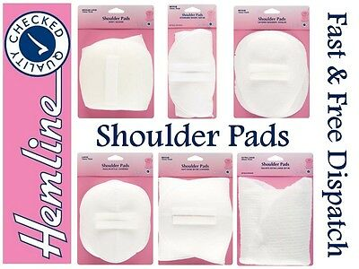 Hemline Shoulder Pads Standard Set-In Large White