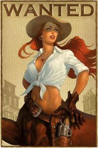Western-Cowgirl-pin-up-girl-chapa-escudo-Escudo-Tin-sign-20-x-30-cm-cc0151
