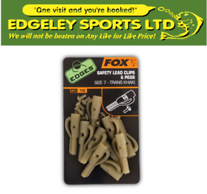CAC477 Fox EDGES Safety Lead Clips /& Pegs Size 7 Khaki