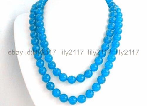 "NEUF 10 mm Magnifique Bleu Ciel Jade Perles rondes Collier Long 35/"""