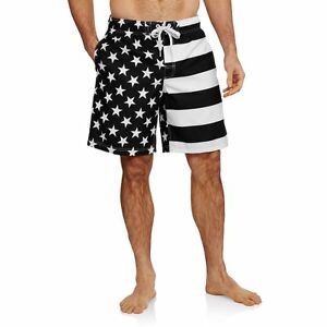 a45d1629ad Details about Men's American Flag Stars Stripes Black & White Swim Trunk Board  Shorts