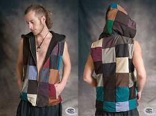PATCHWORK WAISTCOAT Hippy Psytrance Festival Zip Fleece Lined One Size:Regular