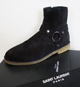 e5ec46f629c NIB SAINT LAURENT Paris Black NEVADA 20 HARNESS JODHPUR Ankle Boots ...