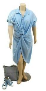 CITY CHIC Chambray Twist Button Dress | Plus size: L (20)
