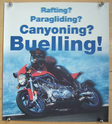 "59x67cm Papier S1 Lightning In Rot Rational Original Werbeposter Buell ""buelling"" 1998"