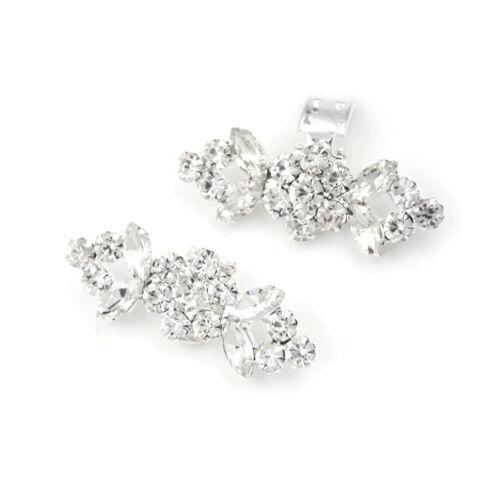 2Pcs//Pair Shoes Clips Rhinestone Crystal Flower Buckle Bridal Wedding Decor NB9