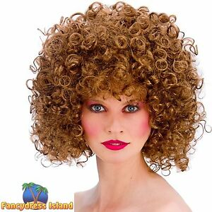 80s brown disco spiral perm big hair wig womens ladies fancy dress