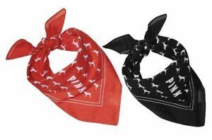 Victoria-039-s-Secret-PINK-2-Pc-Bandana-Red-Black-Head-Scarf-Handkerchief-Dog-New