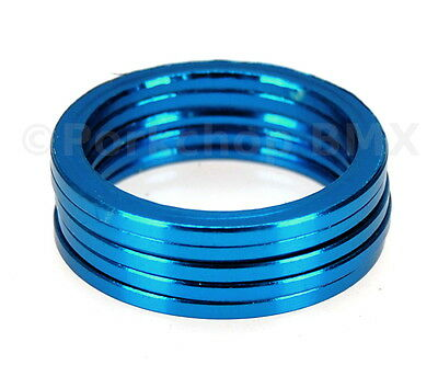 "2mm Bicycle MINI BMX ROAD MTB headset spacers 1/"" threadless SET of 5 BLUE"