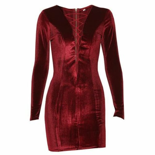 Women Lace Up Long Sleeve Hollow Out Back Zipper Bodycon Velvet Dress