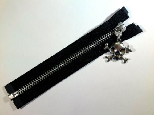 Black Open End Zipper YKK Large Skull Puller Zip Metal