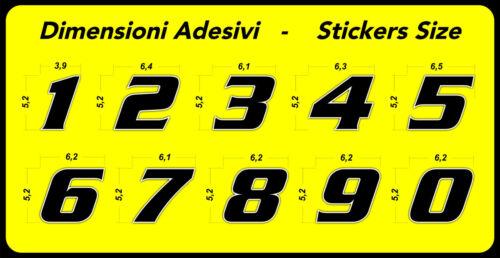 Adesivo Stickers NUMERO 7 moto auto cross gara Rosso FLUORESCENTE 5 cm