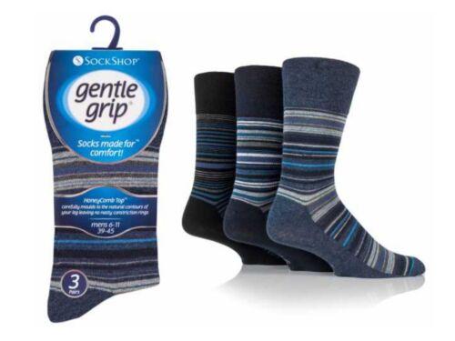 12 Mens Gentle Grip® Cotton Non Elastic Socks UK 6-11 Striped SOMRJ49H3