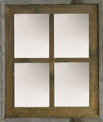 Rustic Narrow Frame Western Style Barn Wood Window Mirror (41 Colors Available!)