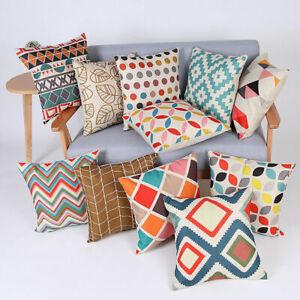 Colorful Marble Cotton Linen Pillow Case Office Waist Cushion Cover Home Decor