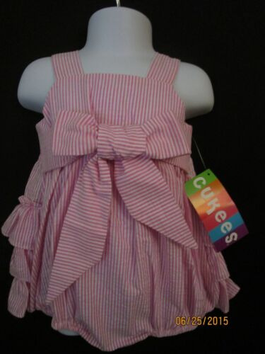 NWT PINK /& WHITE STRIPE RUFFLED BOW BUBBLE SUNSUIT BOUTIQUE LAND OF CHILDREN