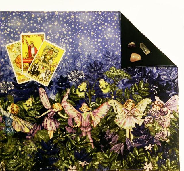 """Fairies or Fairy Lined Tarot Cloth or Altar Cloth 18"""" x 20"""" Spread Cloth"""