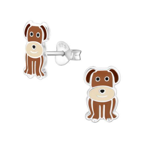 Perro marrón Niñas De Plata Esterlina Stud Pendientes 11mm