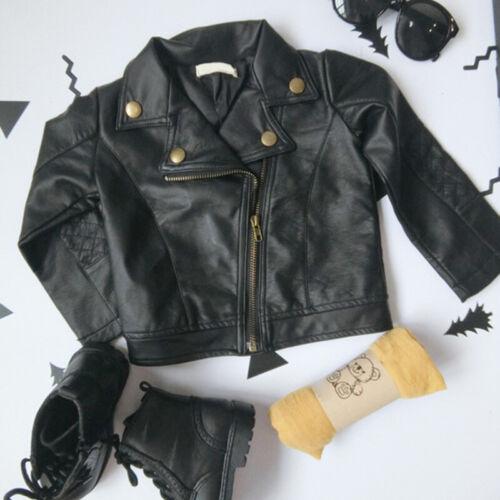Kids Infant Boys Girls Autumn Coat Leather Jacket Outerwear Warm Clothes Black g