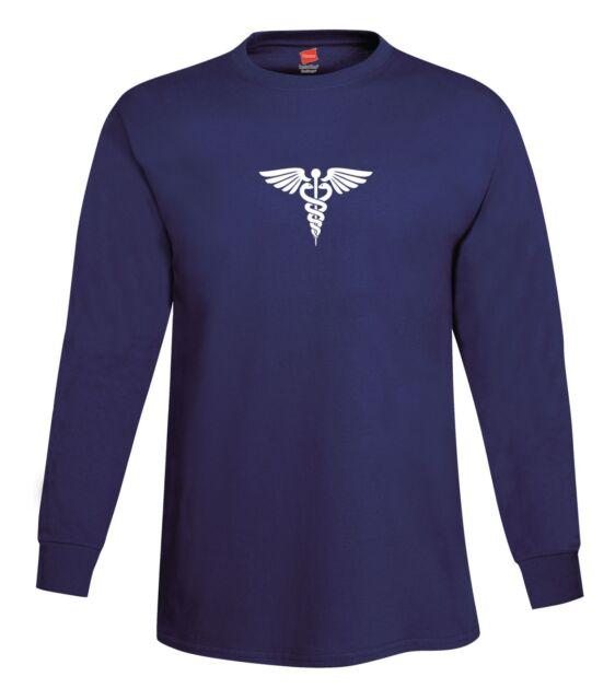 Caduceus Long Sleeve T-Shirt Tagless Medical Doctor EMT Snake Symbol FREE S&H!