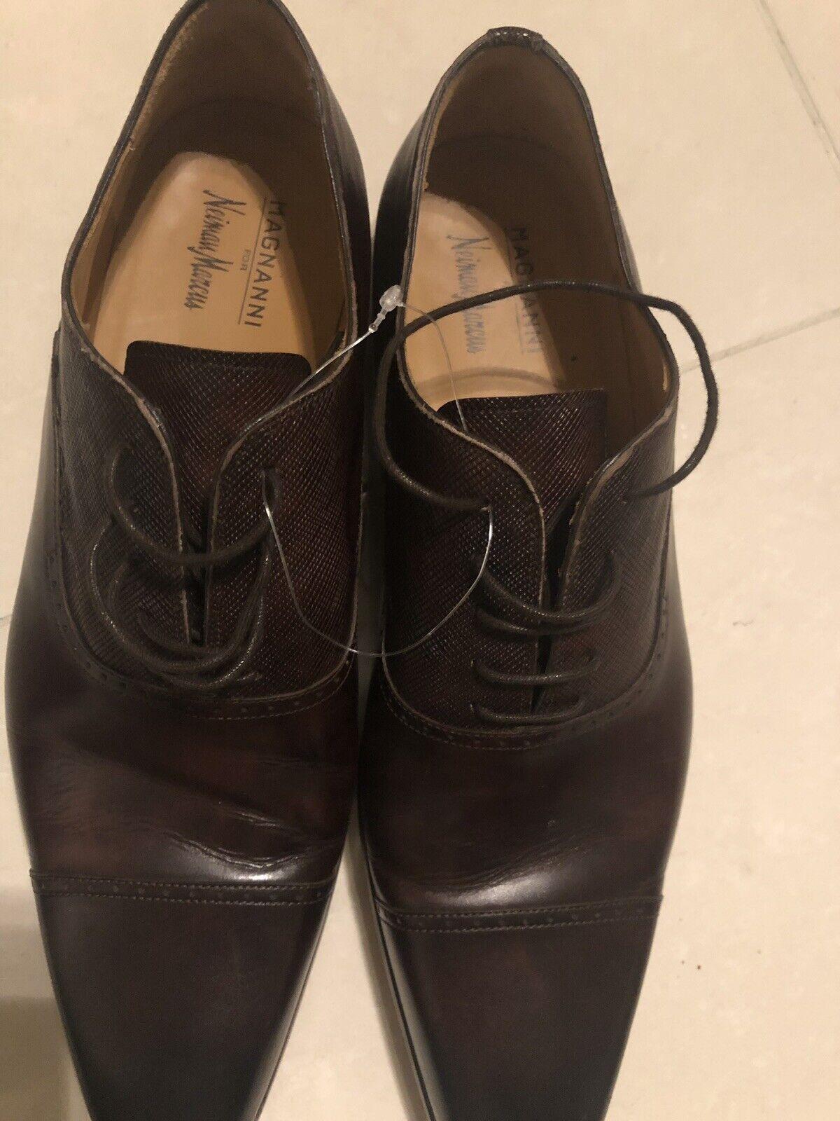 punto vendita Magnanni For Neiman Marcus Dark Marrone Leather Cap Toe Toe Toe Oxfords Lace Up Spain 12M  in vendita