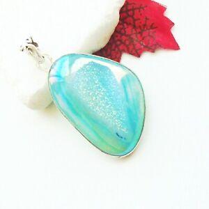 Aura-Quarz-Druse-blau-gruen-Design-Amulett-Anhaenger-925-Sterling-Silber-neu