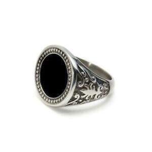 anello uomo acciaio con pietra nera