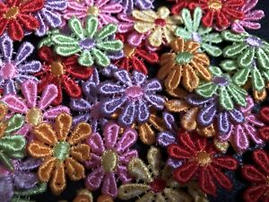 25-50-Multicolour-Guipure-Lace-Daisy-Motifs-Sew-On-Flower-Appliques-BUY3G1FREE