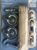 Complete Clothesline Pulley Kit 3/16 X 100' Cotton Line And All Hardware Needed