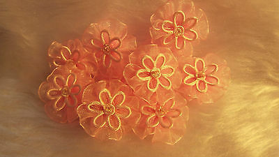 5pcs-Fabric,Pink - Organza Ribbon Flowers  Appliques,Trimmings ,Wedding- 30mm