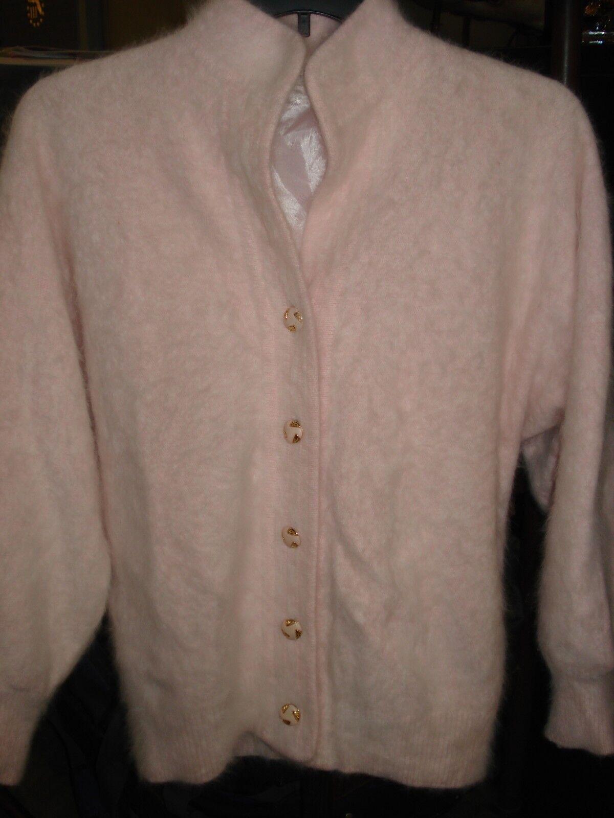 Women's Exclusively Misook Baby Pink Angora Blend Cardigan Sweater Medium