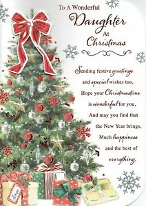 To A Wonderful DAUGHTER - Quality Large Christmas Card Tree Design