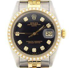 Rolex Date Mens Steel & Yellow Gold Watch Black Diamond Dial Diamond Bezel