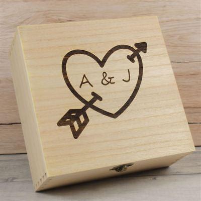 Personalizzata In Legno Ricordo Box-amorini Arrow Anniversario Matrimonio Scatole Di Memoria- Lucentezza Luminosa