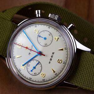 1963-Chinesische-Luftwaffenuhr-Schaltradchronograph-Acrylglas