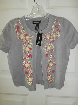 New Nwt Macys Inc Top Shrug Sweater Small Sequins Floral