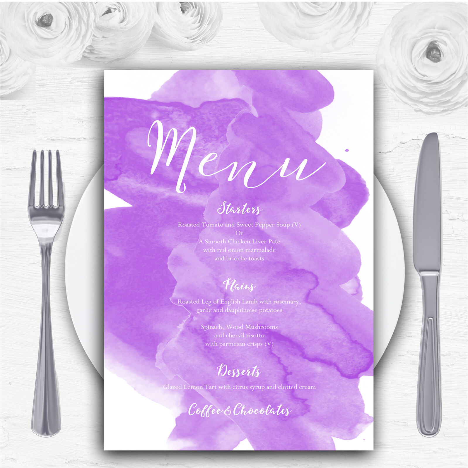 lila Watercolour Personalised Wedding Menu Cards