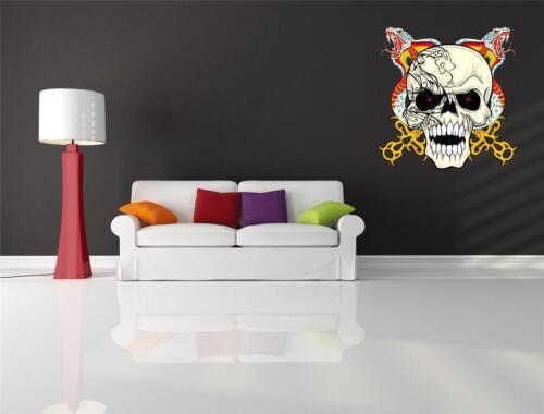Wall Art Sticker Decal Tattoo Snake Crossed Swords Skull Halloween