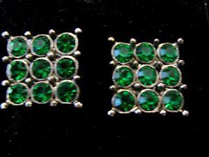 Emerald-Green-Sparkle-Bling-Rhinestone-1-5cm-Big-square-stud-earrings-Xmas-Ball
