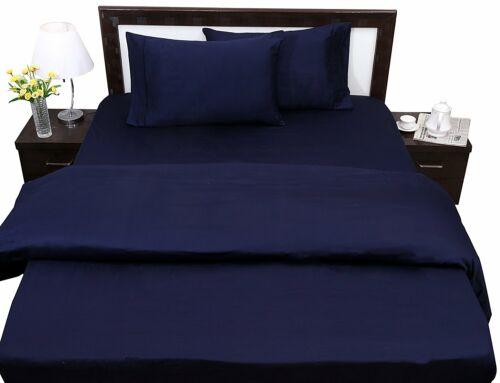 1 Flat Sheet /& 2 Pillowcase ALL Size Navy Blue Solid 100 Percent Cotton 400-TC