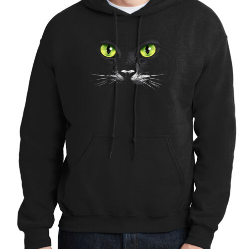Cool Cat Face Hoodie Eyes Black Cat Hooded Pullover 1022C