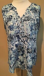 Women-039-s-Blue-Print-Sleeveless-Hanna-amp-Gracie-Top-Blouse-Large