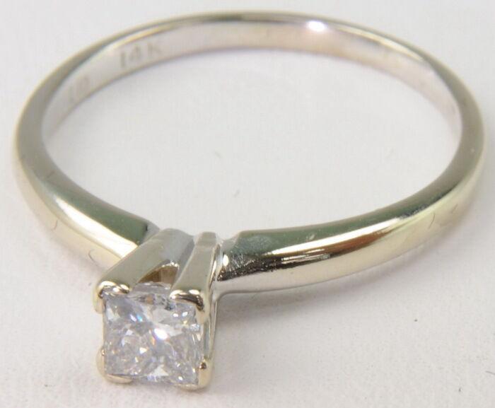 14k White gold 3 8 Ct Princess Cut Diamond Solitaire Engagement Estate Ring