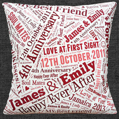"""PERSONALISED YOUR OWN WORDS KEEPSAKE GIFT ANY OCCASION 16"""" Pillow Cushion Cover"""