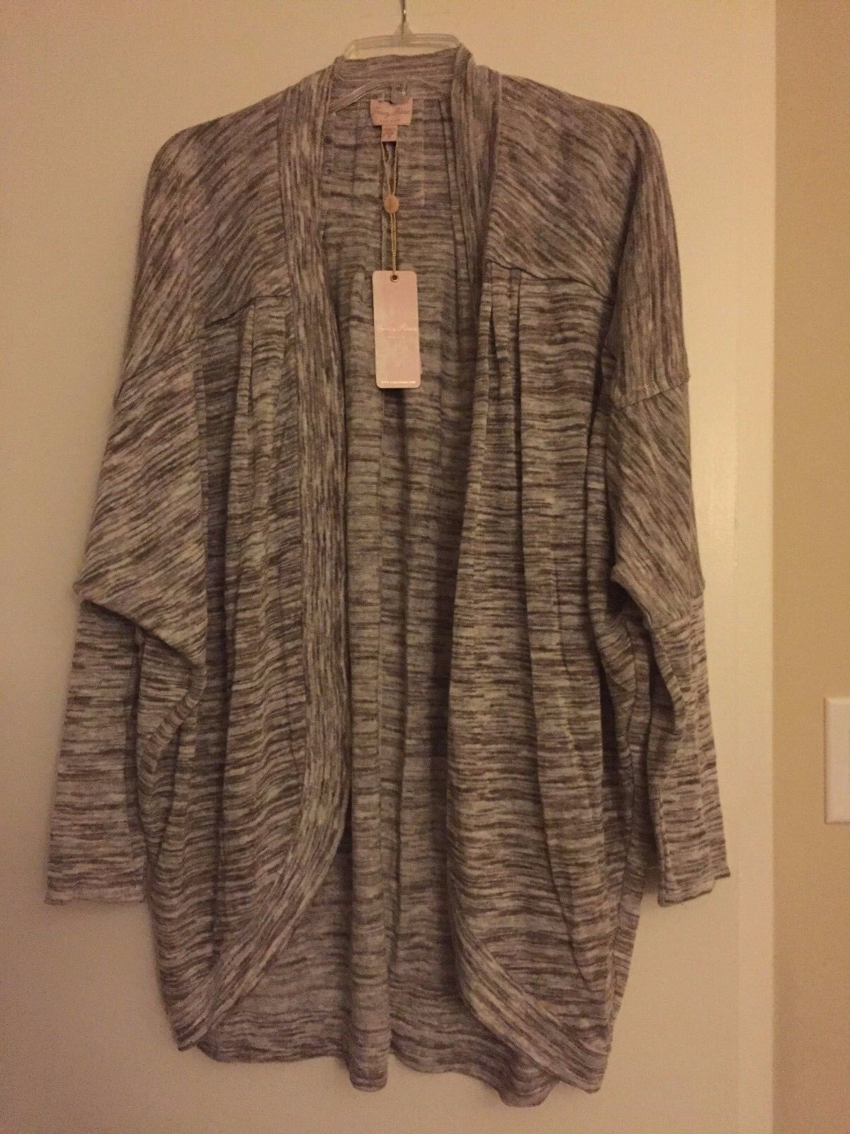 NWT Tracy Reese Brown Cocoa Space Space Space Dye Linen Draped Cardigan  295 - M 504e39