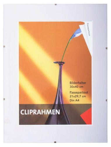 Fotorahmen Bilderrahmen Rahmen 30 x 40 Foto Bild Rahmenlos Gallerie Clip-Rahmen