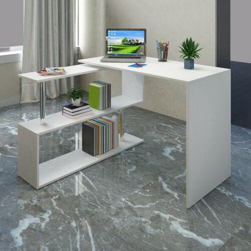 L-Shaped Corner Computer Desk Home Office Study Laptop PC Work Table w//Shelves