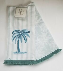 Details about Deborah Connolly Palm Trees Kitchen Dish Towels Set of 2 Blue  Green New