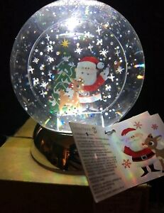 Disney-Water-Globe-Rudolph-Red-Nosed-Reindeer-Santa-Claus-Christmas-Dept-56